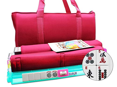 Mose Cafolo~ American Mahjong Set - Red Burgundy Soft Bag - 166 White Engraved Tiles, 4 All-in-One Rack/Pushers Western Mah Jongg Game Set