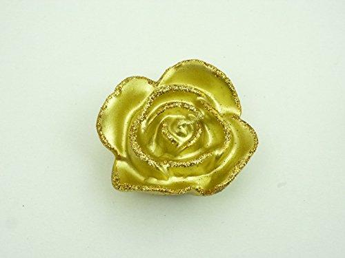 2 x 2er Set Kerzen in Rosenform, Farbe gold Dekokerze Geschenk