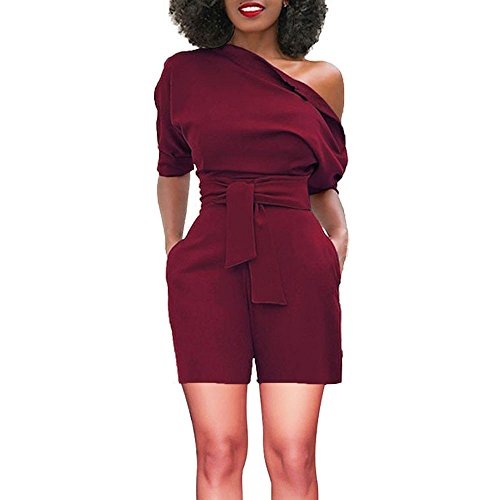 TOTOD Rompers for Women, Summer Sexy Off Shoulder Ruffle Shorts Fashion Short Sleeve Jumpsuits with Pockets(Wine,L)