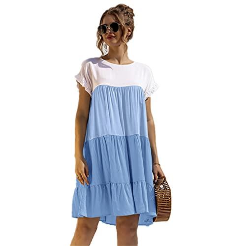 WOOKIT Vestido Casual de Verano para Mujer Vestido Suelto de Manga Corta con Cuello Redondo Vestido Elegante Vintage-Azul-L
