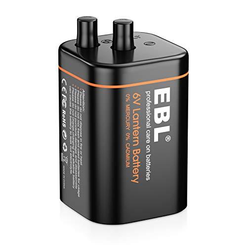 EBL 6V Alkaline Lantern Battery Durable Long Lasting Power with Spring Terminals for Lantern Light, Flashlight, Spot Light for Hiking Camping