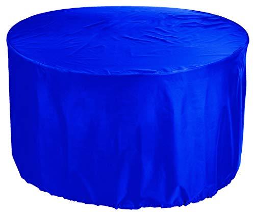 KaufPirat Premium Abdeckplane Rund Ø 100x80 cm Gartenmöbel Gartentisch Abdeckung Schutzhülle Abdeckhaube Outdoor Round Patio Table Cover Blau