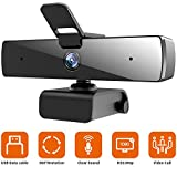 Webcam with Microphone(30fps), Full HD 1080P with Privacy Cover [Upgraded], Plug & Play Camera for Computer, Smart Tv, Laptop, Multi-Compatible, for Video Conferencing, Online Lessons and Streaming