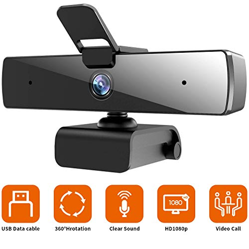 Webcam with Microphone(30fps), QTNIUE HD 1080P with Privacy Cover [Upgraded], Plug & Play Camera for Computer, Smart Tv, Laptop, Multi-Compatible, for Video Conferencing, Online Lessons and Streaming
