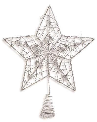 Riffelmacher Christbaumspitze Draht Stern 24cm 17841 - Silber - Wunderschöne Weihnachtsbaumspitze aus glitzernden Draht