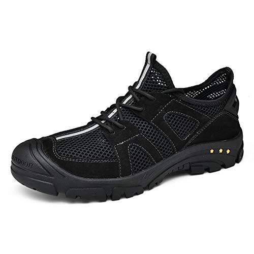 Zapatos de senderismo zapatos de escalada al aire libre para hombres deportes al aire libre encaje hacia arriba antideslizante plano colisión evitación redondo punta transpirable malla superior cuero