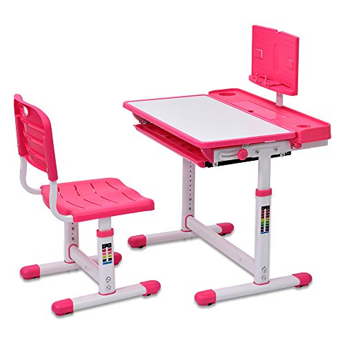 Kinder Schreibtisch und Stuhl Set, höhenverstellbarer Schreibtisch mit kippbarer Tischplatte, mit Lesebrett, für Kinderschreibtisch für Schule und Familie, Bücherregal, Aufbewahrungsschublade für,Rosa
