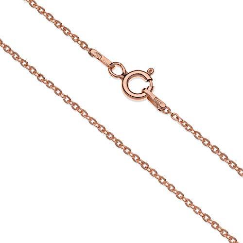 Aka Gioielli - Collana Donna in Argento Sterling 925 Placcato Oro Rosa - Catena Maglia Fine 1.4 mm - lunga 45 cm