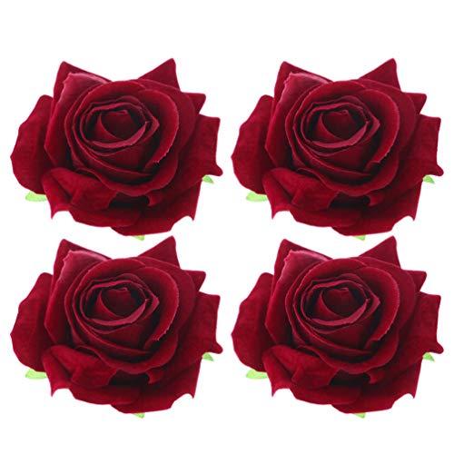 PRETYZOOM Femmes Rose Fleurs en Épingle à Cheveux Pince à Cheveux Fleur Broche Bohême Boho Cheveux Accessoires pour Mariage Hawaii Plage Vacances Vacances Décoration 4 Pcs (Bordeaux)