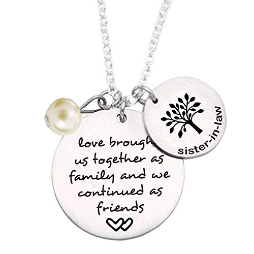 liduola Sister-in-Law Gift Sister in Law Necklace with Family Tree Charm Sister of The Groom Gift Sister in Law Wedding