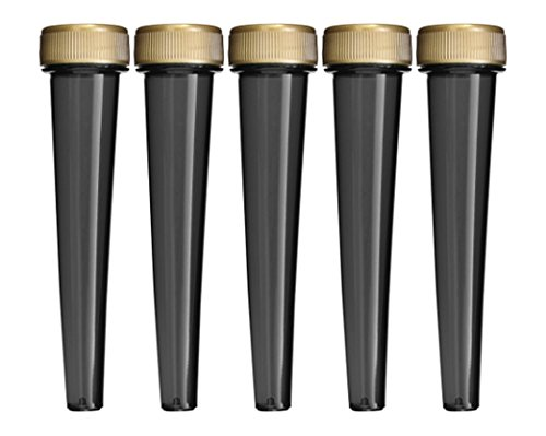 EZtube 5-Pack Cigarette Doob Tube Vial Holder Waterproof Airtight Smell Proof Odor Sealing Container (Black)