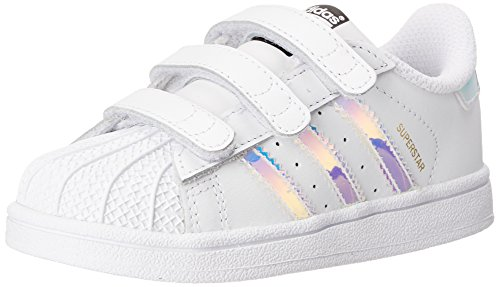 adidas Originals Superstar CF C Shoe (Little Kid),White/White/Metallic Silver,2.5 M US Little Kid
