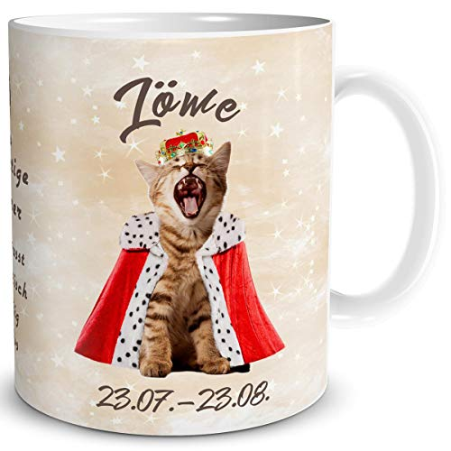 TRIOSK Tasse Katze lustig mit Spruch Sternzeichen Löwe Katzenmotiv Geschenk für Katzenliebhaber Geburtstag Frauen Freundin