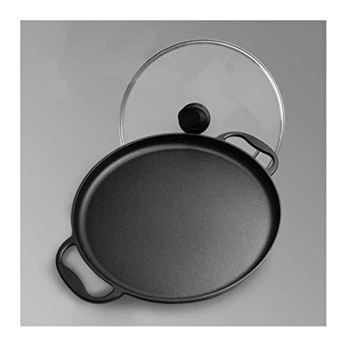 LIZANAN Cocina Sartén con Vidrio Accesorios Tapa Cast 35cm de Hierro, Utensilios de Cocina for la Pizza de la Crepe por inducción de Gas y eléctrica Cocina Olla