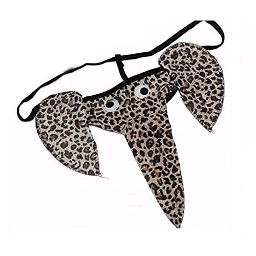 NiceJoy 1pc Sexy Tong Men Elephant Underwear T-Back Pants Christmas Gag Regalo Divertido Regalo (Leopardo)
