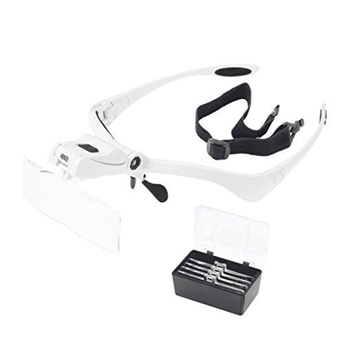 Kopfbandlupe mit Led Lupenbrille Kopflupe mit Licht Abnehmbare Linsen Leselupe beleuchtung Stirnlupe 5 Wechselobjektive für Brillenträger, Lesen, Handwerk, Juweliere, Nähen, Reparatur(1.0X bis 3.5X)
