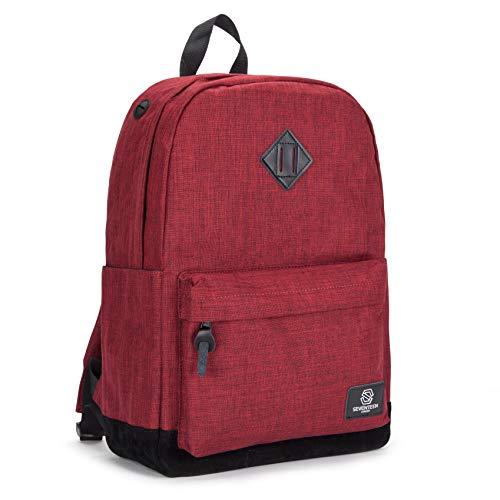 SEVENTEEN LONDON – Moderner und Unisex 'Westminster' Rucksack in rot mit Einer schwarzen Basis aus Fauxwildleder und einem klassischen Design im Schultasche-Stil – perfekt für 15.6-Zoll-Laptops