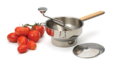 RSVP International Endurance (FDML) Food Mill, Stainless Steel w/ Wood Handle | For Mashing, Straining & Grating Fruits & Vegetables | Easy to Clean | Applesauce, Tomato Sauce, Mashed Potatoes