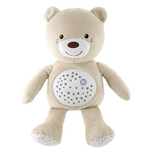 Chicco Baby Bär, Nachtlicht Projektor mit Farbwechsel und 30 Min. Musik, Plüsch-Teddybär, Babyspielzeug, beige