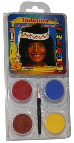 Eulenspiegel 204214 Schminkset Indianer, Pinsel und Anleitung, 4 Farben