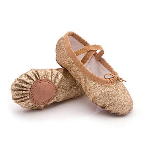 Calidad Niños Niñas Salón de Baile Tango Salsa Latina Zapatos de Baile Plata Oro Lentejuelas Tacones Bajos-Oro_12,5