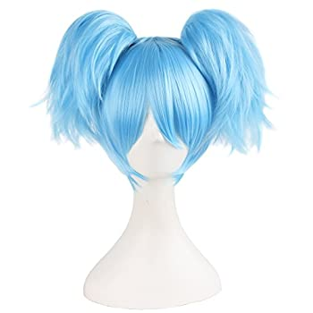 MapofBeauty 12 /30cm Light Blue Three-piece Wig Short Wig Cosplay Wigs