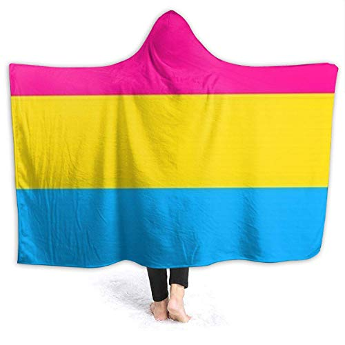 chenjian Pansexual Flag Plush Portable Hooded Blanket Portable Sherpa Fleece Blanket with Hood for Children and Adults