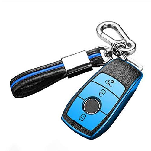 BHYUDYT Carcasa para llave de coche, para Mercedes Benz Clase E W213, W205, E200, E260, E300, E320, AMG, CLA 2018, 2019, 2020, accesorios