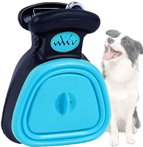 DOGOPAL Pala para caca, portátil para recoger residuos de perro y gato, compartimento de residuos expandible con mango exprimible (L, azul)