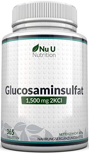 Glucosamin Sulfat 1.500mg 2KCI, 365 Tabletten Glucosamin (Versorgung für ein Jahr) I Kein Gel, Kapseln, Flüssig oder Pulver | Hochwertig I Hergestellt in Großbritannien von Nu U Nutrition