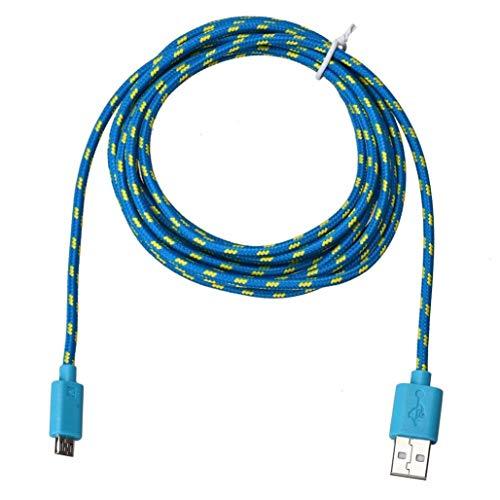 N-K PULABO - Cable USB de 3 m, cargador micro USB de nailon trenzado de sincronización de datos de cable azul duradero y útil económico