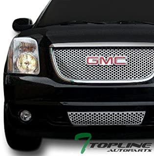 Topline Autopart Chrome Round Hole Front Upper Hood Grill + Lower Bumper Grille ABS For 07-14 GMC Yukon/XL/Denali