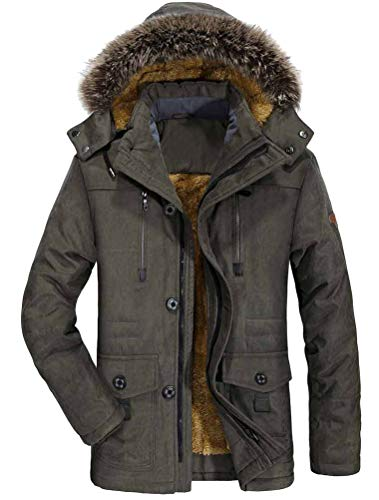 Mallimoda Herren Warme Winterjacke Parka Lang Wintermantel Mit Kunstfell Kapuze Outdoor Gefütterte Steppjacke Jacke Army Green XL