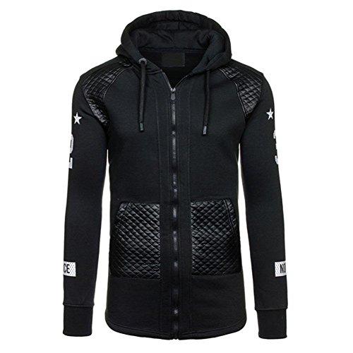 Domybest Man's Jas met capuchon Lint Vest Borduurwerk Rits Sweatshirt (Zwart)(XL)