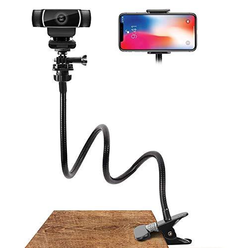 Deosdum Suporte de telefone e suporte de webcam, braço flexível de 63,5 cm, suporte de pescoço de ganso para mesa ou cama, adequado para celular 11 Pro XS Max XR X 8 7 6 Plus e Logitech C925e, C922x, C930e,C922