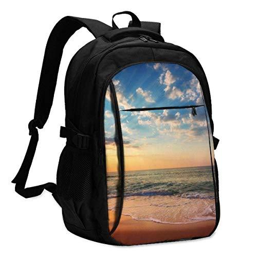 XCNGG Mochila USB con múltiples Bolsillos, Mochila Informal, Mochila Escolar Laptop Backpacks Tactical Beautiful Cloudscape Over The Sea, Sunrise Shot Office & School Supplies with USB Data Cable and
