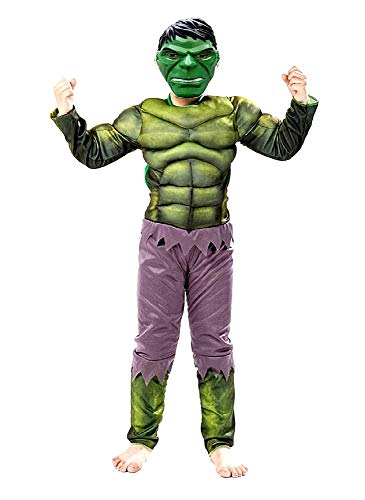 Disfraz de carnaval de increíble Hulk, incluye mono musculoso y máscara, idea de disfraz para niños, talla M 4-5 años