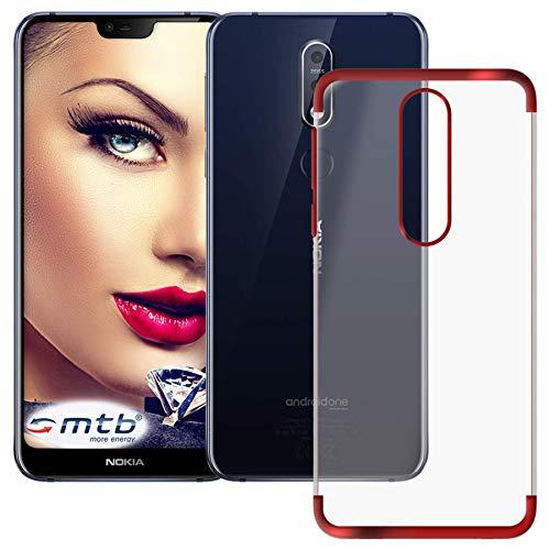 mtb more energy® Schutz-Hülle Elegance für Nokia 7.1 Dual SIM (5.84'') - rot - flexibel - TPU Frame Rahmen Hülle Cover Tasche