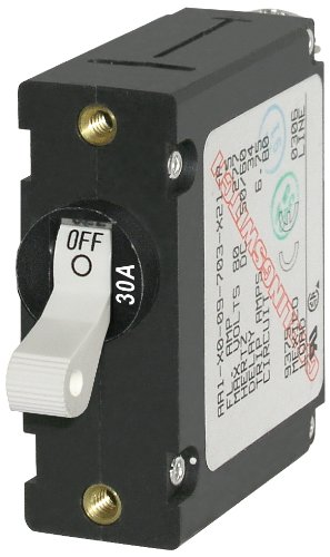 Blue Sea Systems A-Series White Toggle Circuit Breaker - Single Pole, 30A