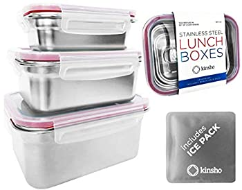 Stainless Steel Lunch Box Food Prep Storage Containers with Lids & Ice Pack Metal Container Stackable Boxes for Kids Adults Sandwich Salad Keto Snack or Meal Leakproof Bento Set of 3 Small - Large