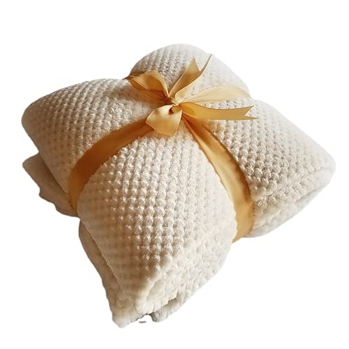 QIUBD Mantas para Sofa, Manta De Sofá De Microfibra De Felpa De Terciopelo De Franela Esponjosa Súper Suave, Manta De Felpa Grande para Cama Doble/Individual (White,120 x 200 cm)