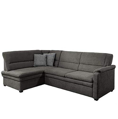Cavadore Ecksofa Pisoo mit Ottomane links L-sofa, mit Federkern im klassischen Design, 245 x 89 x 161, Flachgewebe Grau