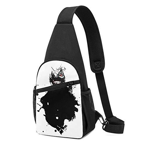 Hdadwy Kaneki Paint Splatter Tokyo Ghoul Sling Backpack Sling Bag Black Crossbody Daypack Casual Backpack for Travel, Hiking, Cycling, Camping for Women Men