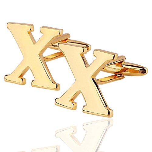 AmDxD Bijoux Chemises Collections de boutons de manchette pour homme Lettre de l'alphabet X d'or Environ 18 20
