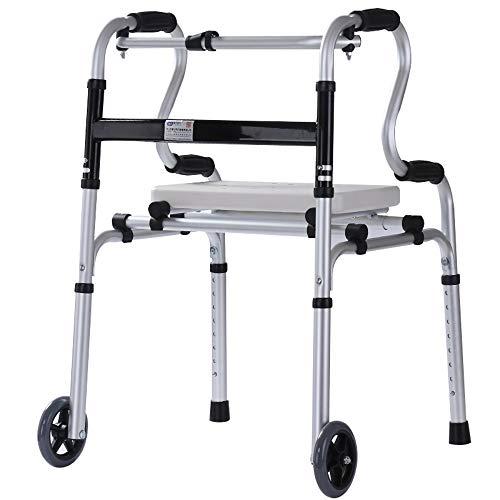 LBYMYB Deambulatore Pieghevole con Ruote con Piastra di Seduta per Gli Anziani assistiti pedana per Allenamento riabilitativo Sedia a rotelle