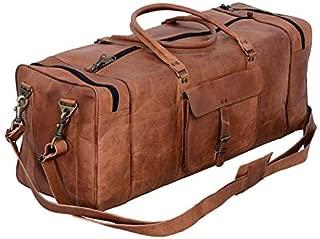KPL 30 Inch Large Leather Duffel Travel Duffle Gym Sports Overnight Weekender Bag (Single Pocket)