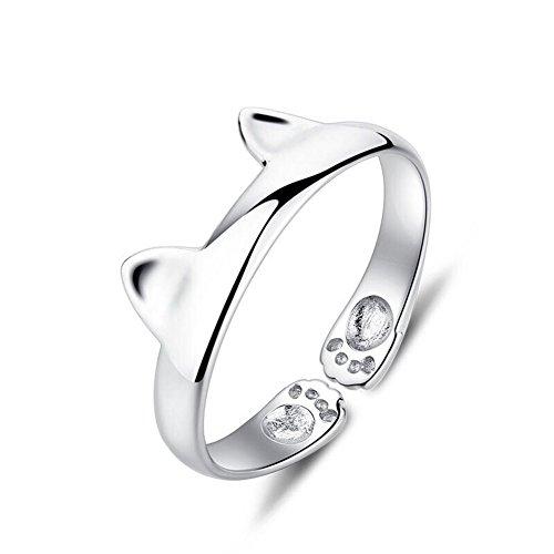 lumanuby Katze Ohr Ring Fashion offener Ring Damen Mädchen glänzend Jewelry Accessories Weihnachten Valentinstag Geburtstag Geschenk verstellbar