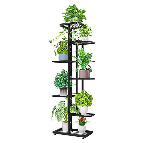 ZZBIQS Soporte de metal de 7 niveles para plantas, con varios soportes para macetas, organizador de almacenamiento para esquina interior en el balcón (gris oscuro)
