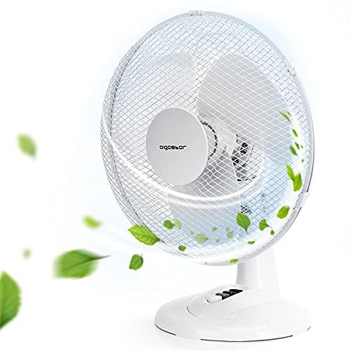 Aigostar Louis 33JTN - Ventilatore da tavolo, silensioso, 3 impostazioni di velocità, 34.5 cm, 2,2 kg, oscillazione di 80 gradi. Design esclusivo