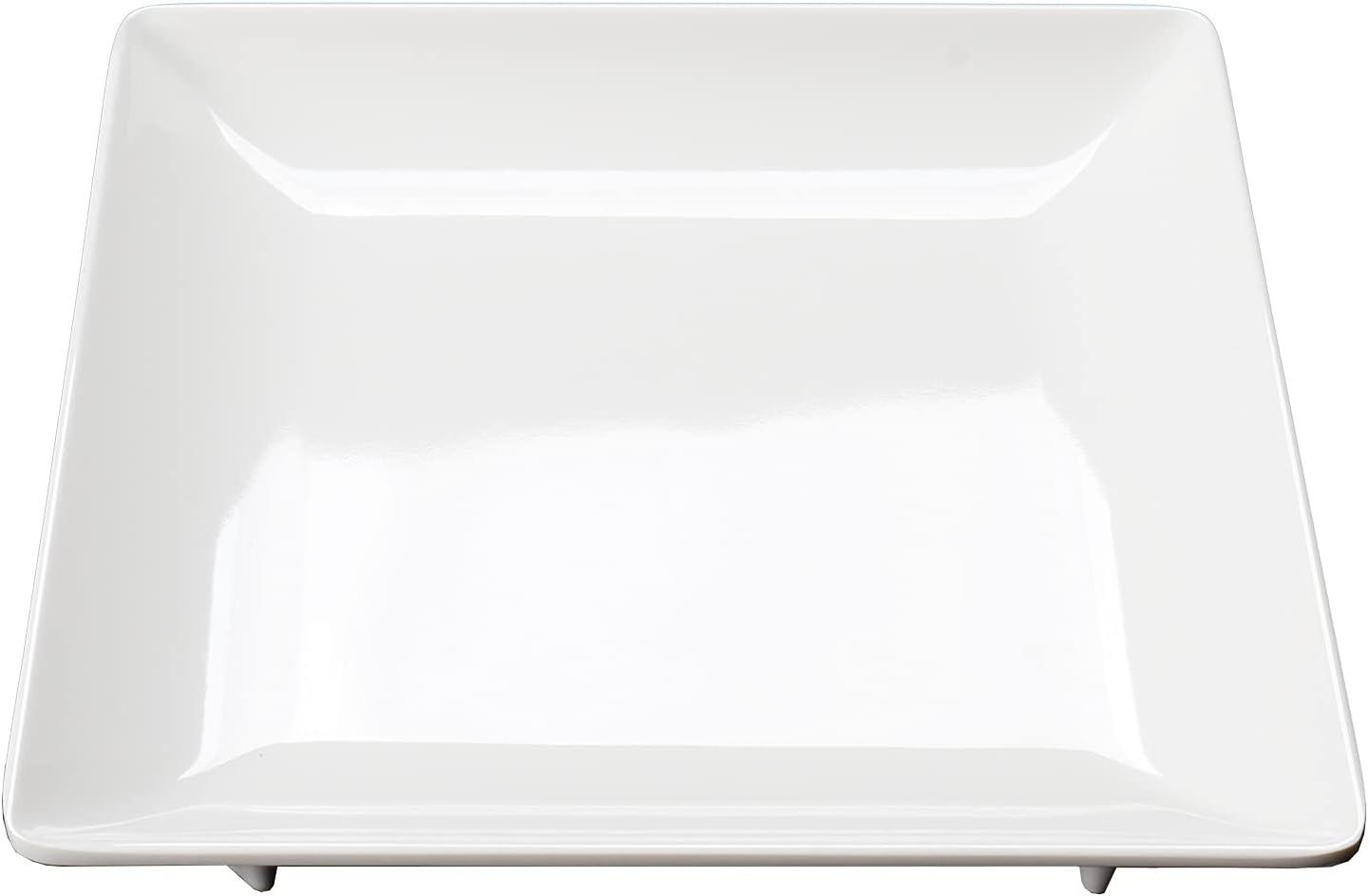 MBGWPP Melamine Product Plastic Square Unbreakable Rare Desser White Plates